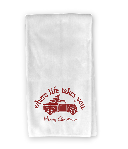 Christmas Truck (merry christmas) Kitchen Towel - Where Life Takes You