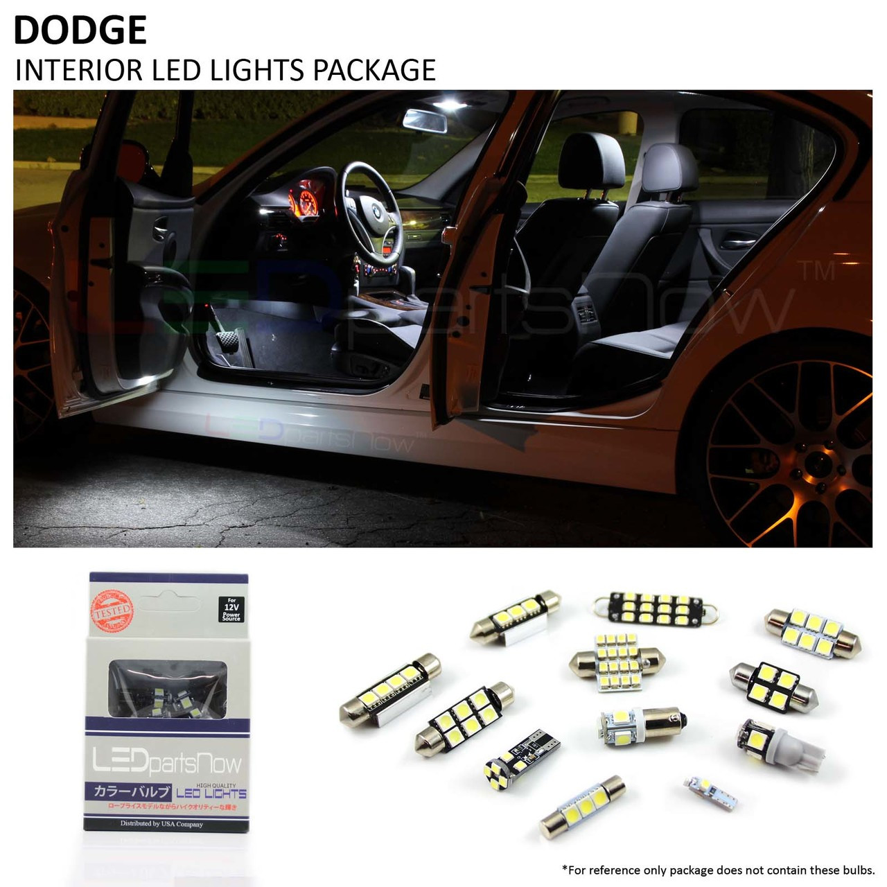 2004-2009 Dodge Durango White Interior Map LIcense Plate LED Lights Package Kit