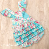 Ruffle Romper Teal/Red - Size 2