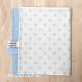 White/Blue Spot Burping Rug