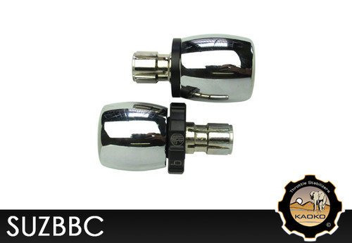 KAOKO Motorcycle Throttle Stabilzers for Suzuki Boulevard C50 (incl matching left hand side Bar-End Weights : Barrel shape with chrome finish)