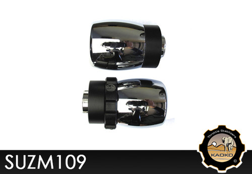 KAOKO Motorcycle Throttle Stabilzers for SUZUKI Boulevard M109R (incl. matching left hand side Bar-End Weight : Barrel shape with chrome finish)