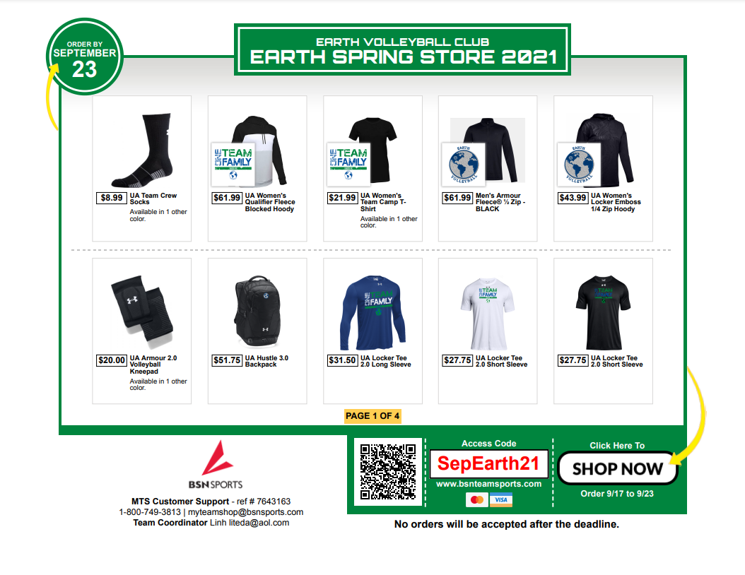Visit Earth Volleyball Club Online Store 2021