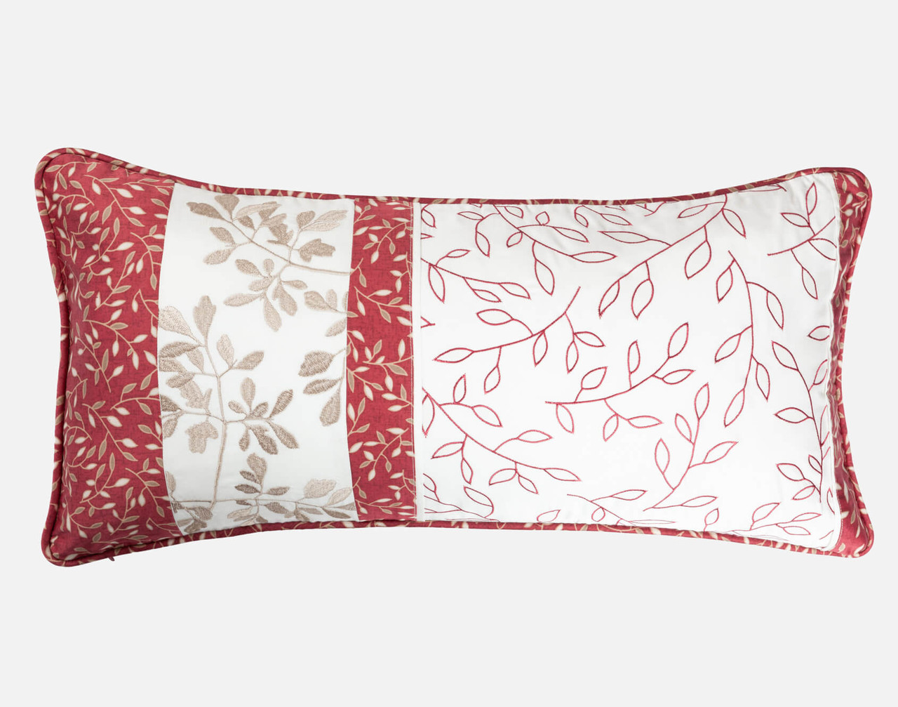 Aubrey Boudoir Cushion Cover features embroidered leaf detailing.