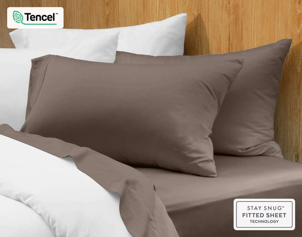 BeechBliss Modal Pillowcase in Porcini Brown on bed