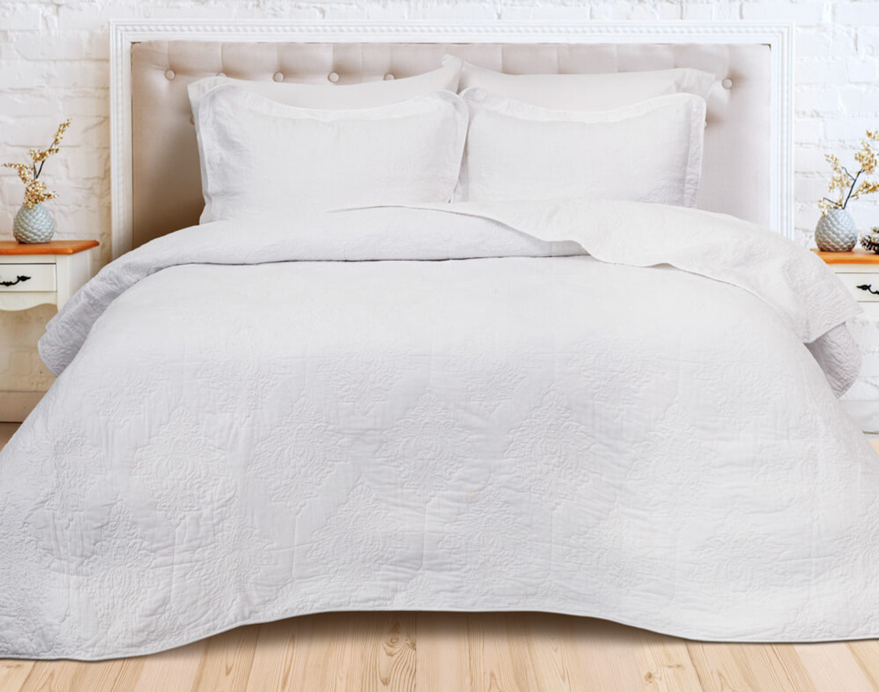 Front view of Marissa Cotton Quilt Set, a white damask pattern.