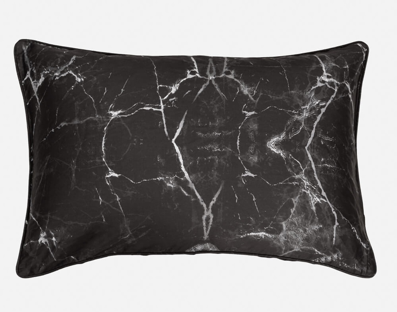 Inkstone Pillow Sham features a marbled pattern on a black background.