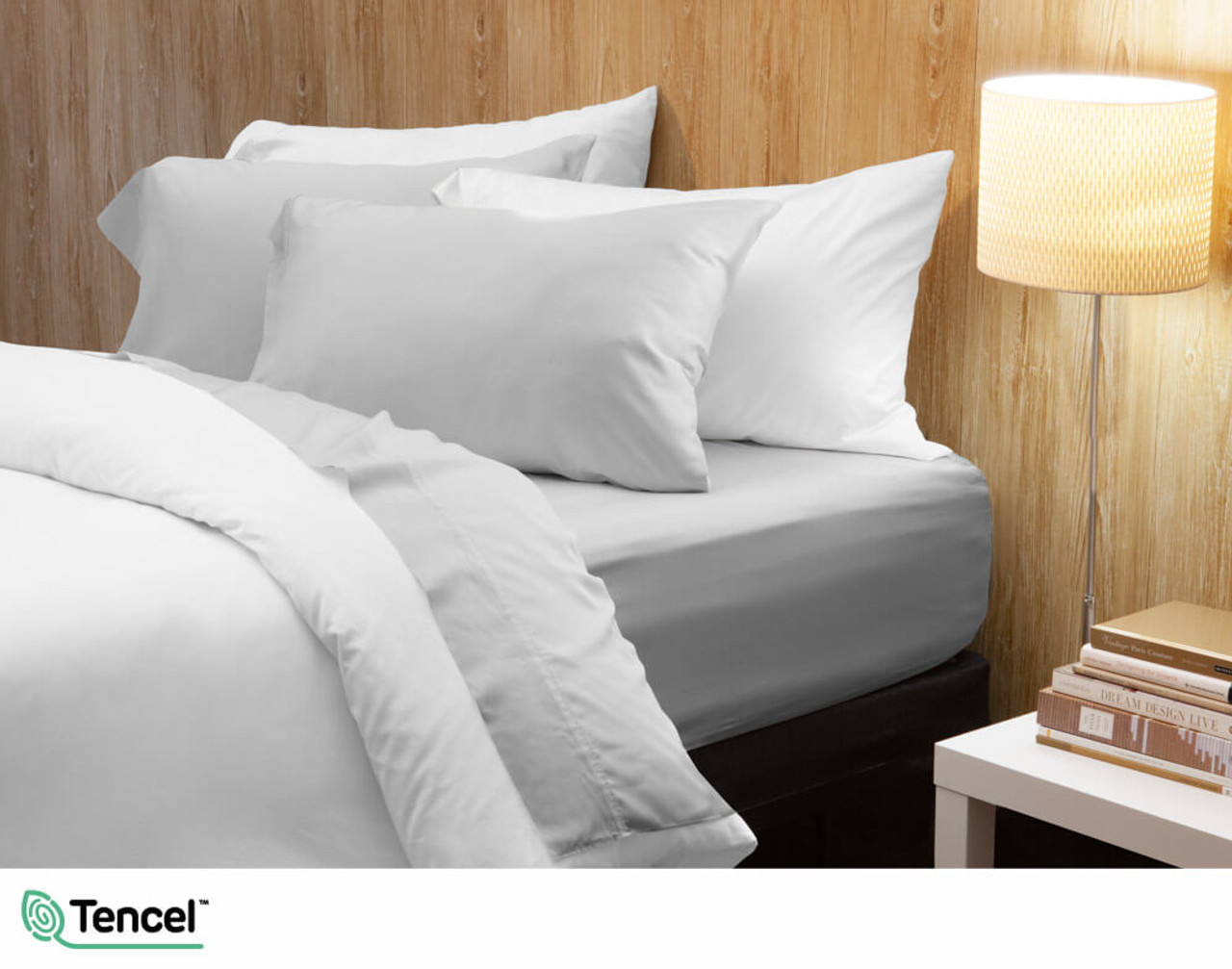 300TC TENCEL™ Lyocell Blend Sheet Set in Mist, a light silver grey colour
