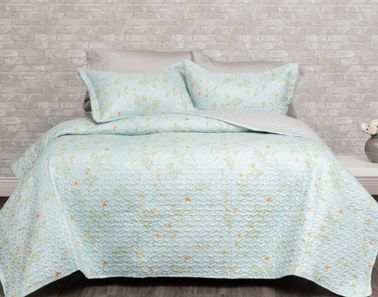 Rivulet Mint Green Botanical Coverlet Set Qe Home