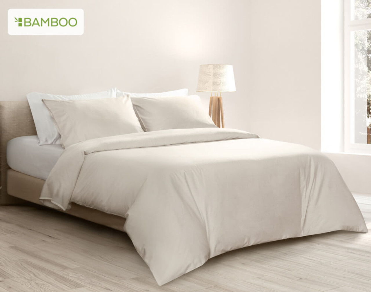 Bamboo Cotton Duvet Cover in Driftwood, a creamy off-white.