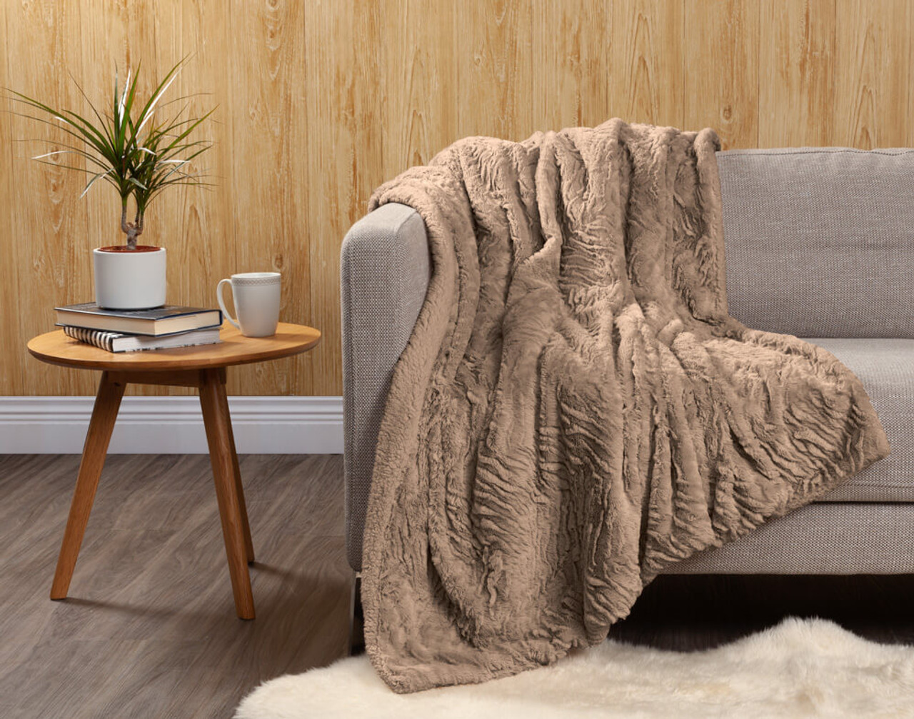 Faux Rabbit Plush Throw in Taupe.