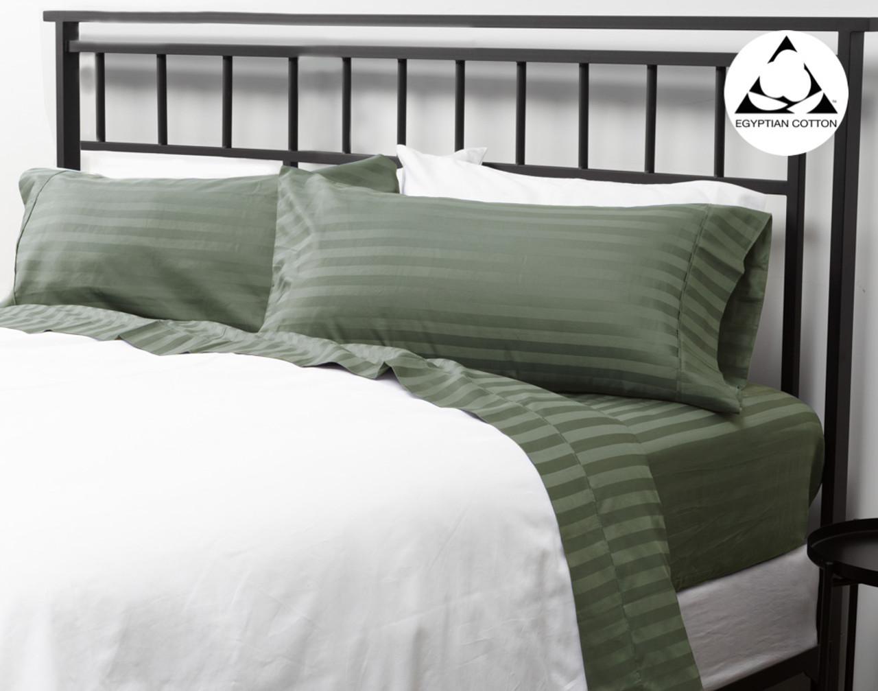 Striped Egyptian Cotton 600tc California King Sheet Set Cactus