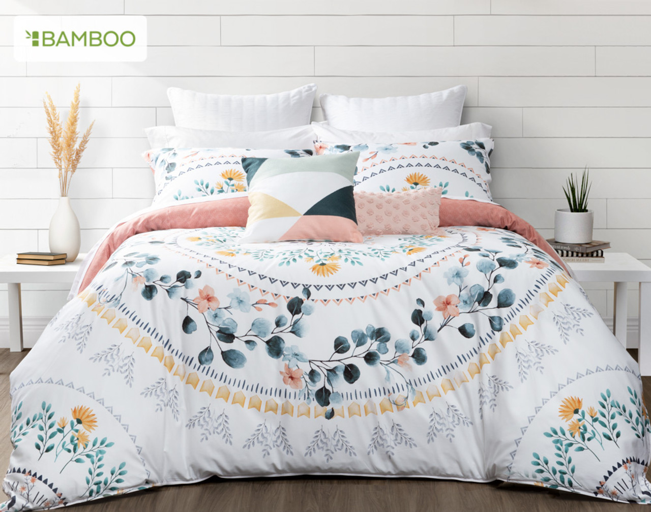Estelle Bedding Collection features a blushing floral wreath mandala design in teal green, terracotta, blush pink, gold and grey accents.