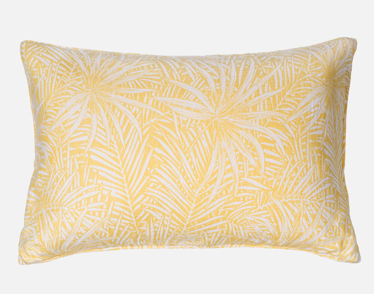 Moorea Pillow Sham features the same bright yellow print as the duvet cover.