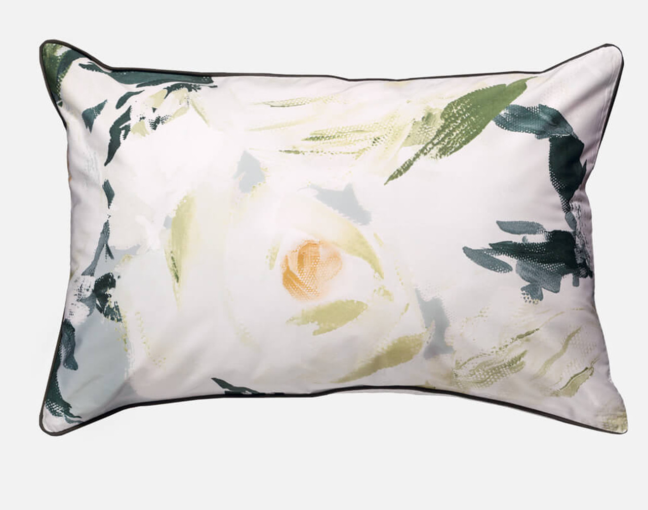 Rosanna Pillow Sham features  oversized white roses dotted with gold centres.