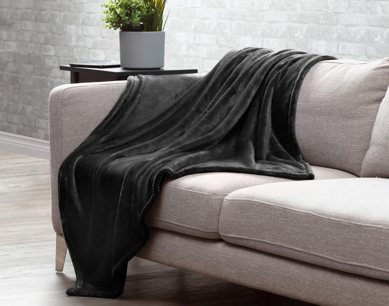 Velveteen Fleece Throw in Shale, a brown with grey undertones.