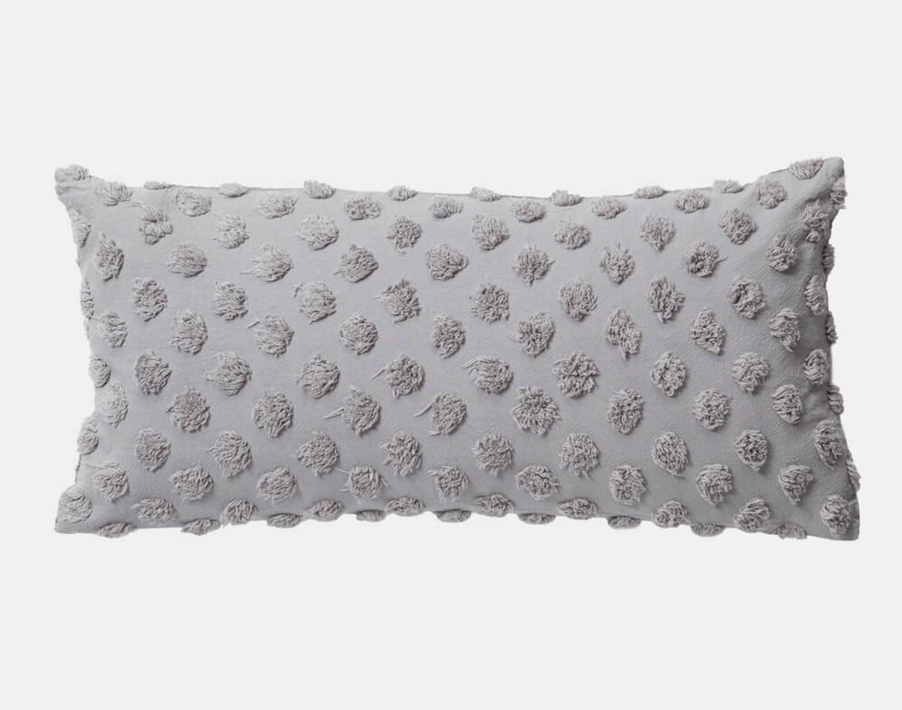 Tufted Boudoir Cushion Cover in Sleet grey.