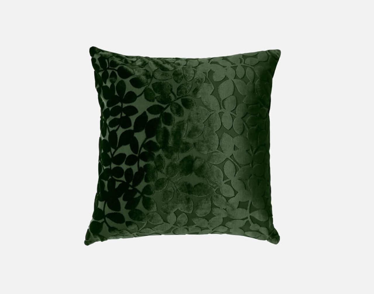 Velvet Vine Square Cushion in Rainforest, a dark green.