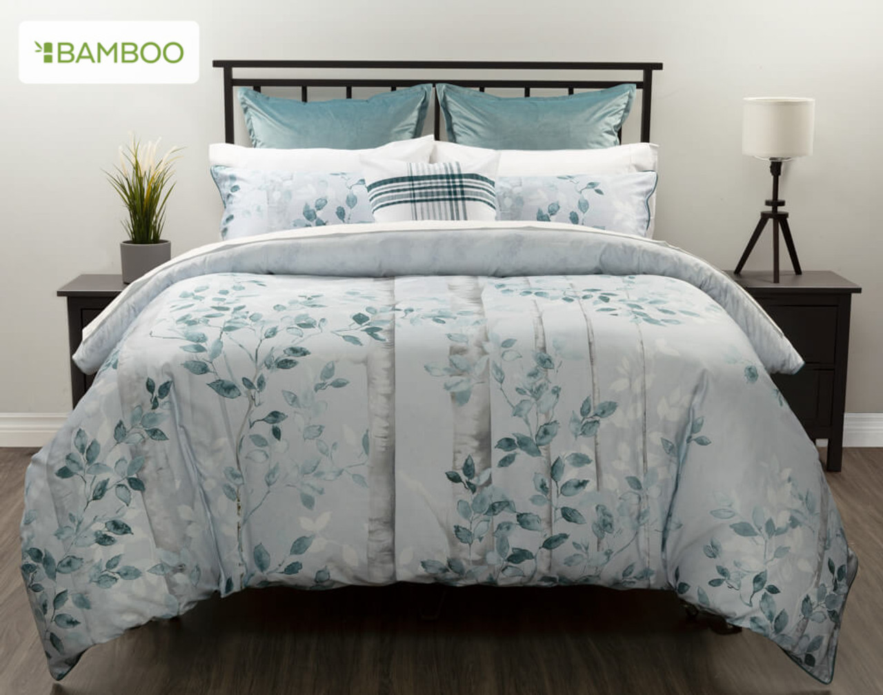 Aspen Bedding Collection, featuring a dreamy palette of soft greys with deep teal accents