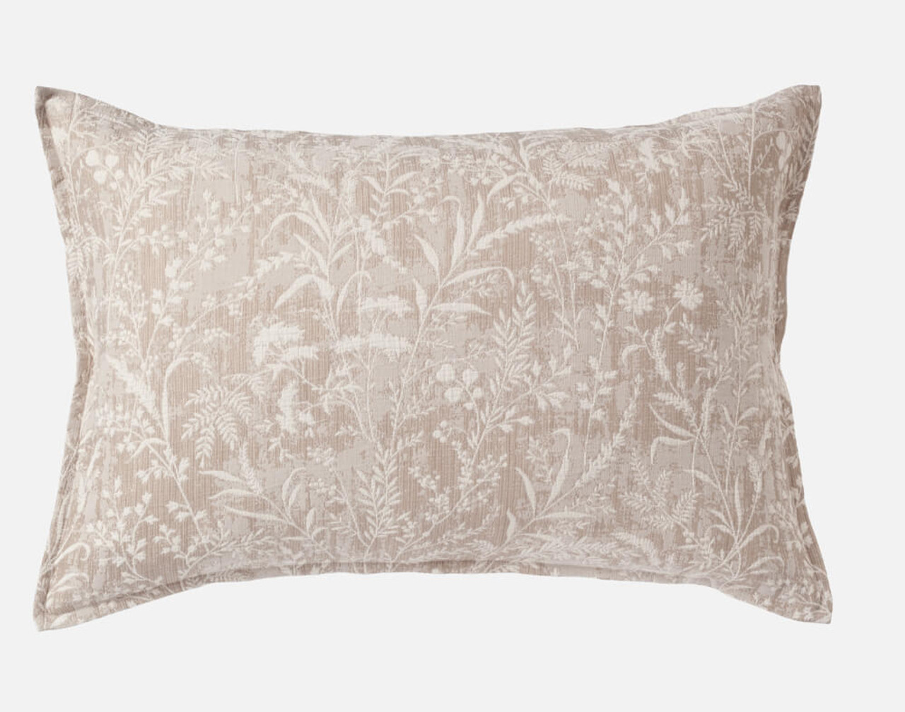 Meadowsweet Pillow Sham in shades of taupe and cream.