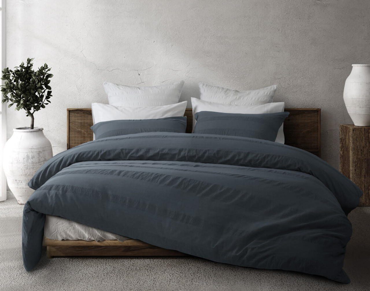 Stonewashed Cotton Duvet Cover Set in a steely blue colour.