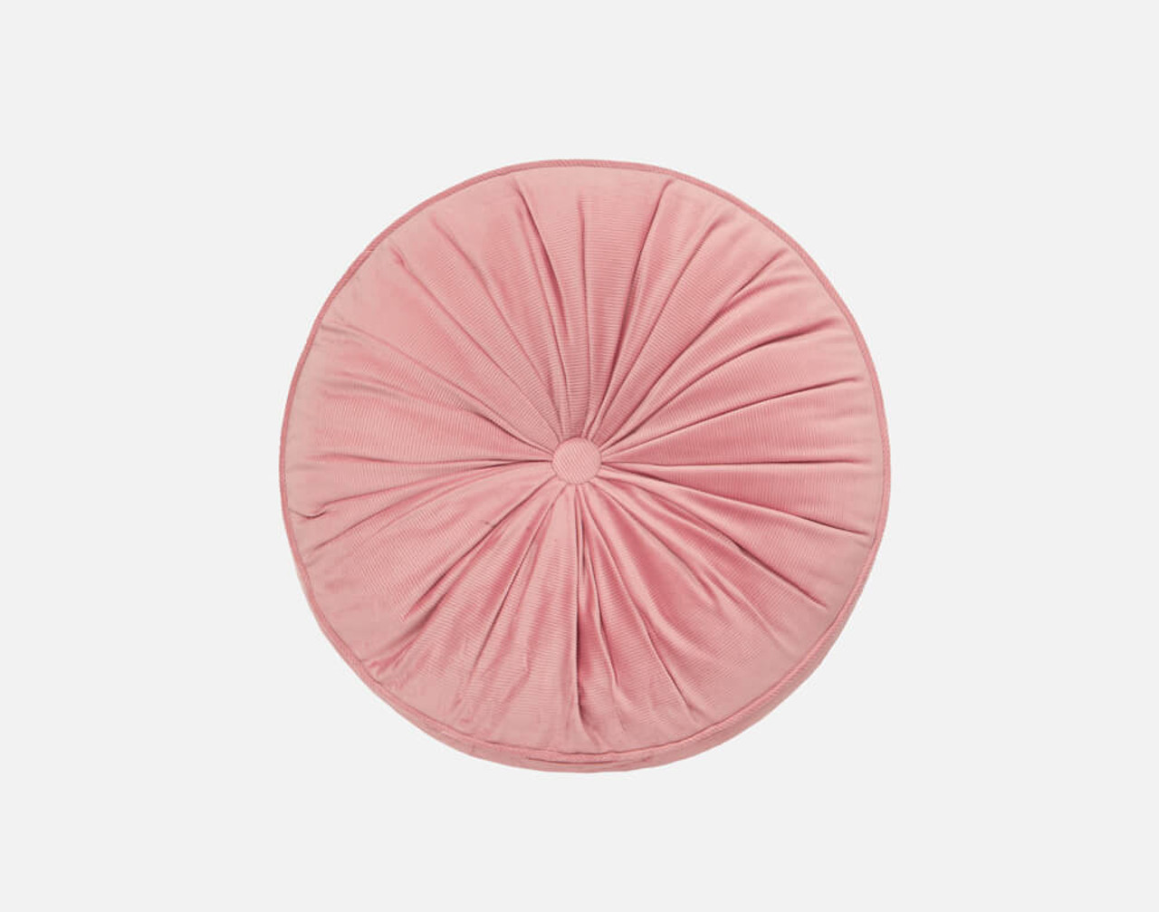 Round Corduroy Pillow in Blush, a cheerful pink.