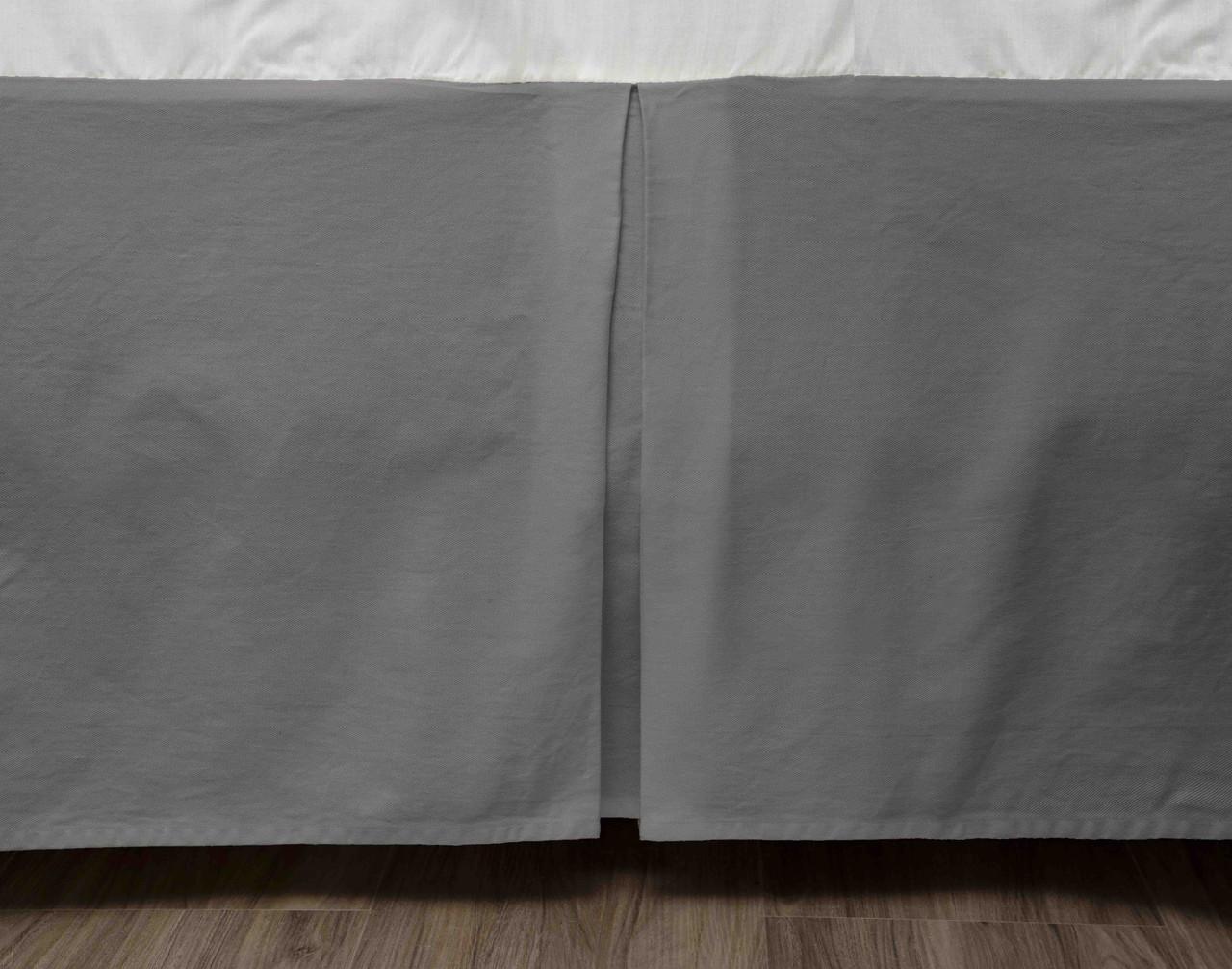 Cotton Twill Bedskirt in Steel