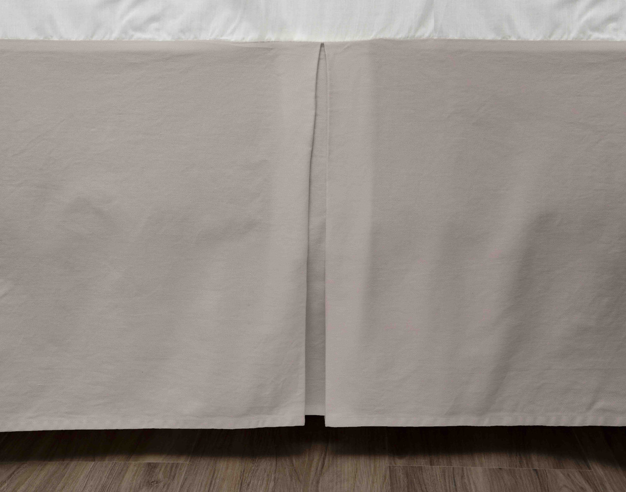 Cotton Twill Bedskirt in Ash, Greige