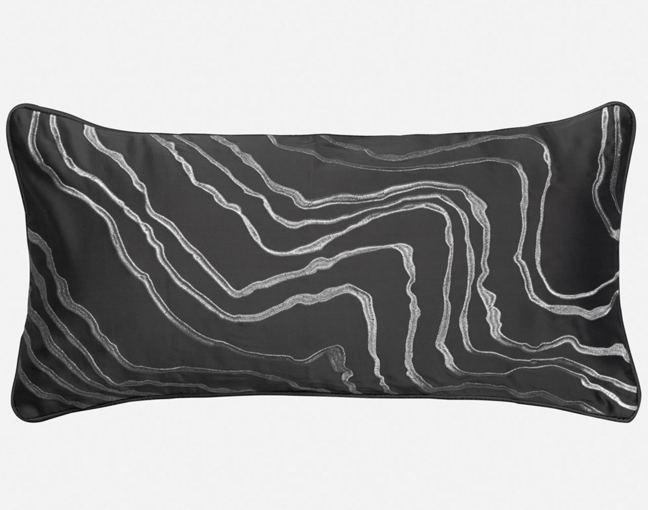 Close-up of Palisade Black Boudoir Pillow Cover.