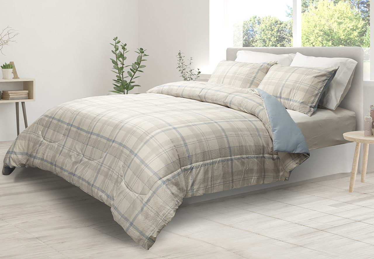 Townsend comforter set, side view. Shown in coastal blues and neutrals