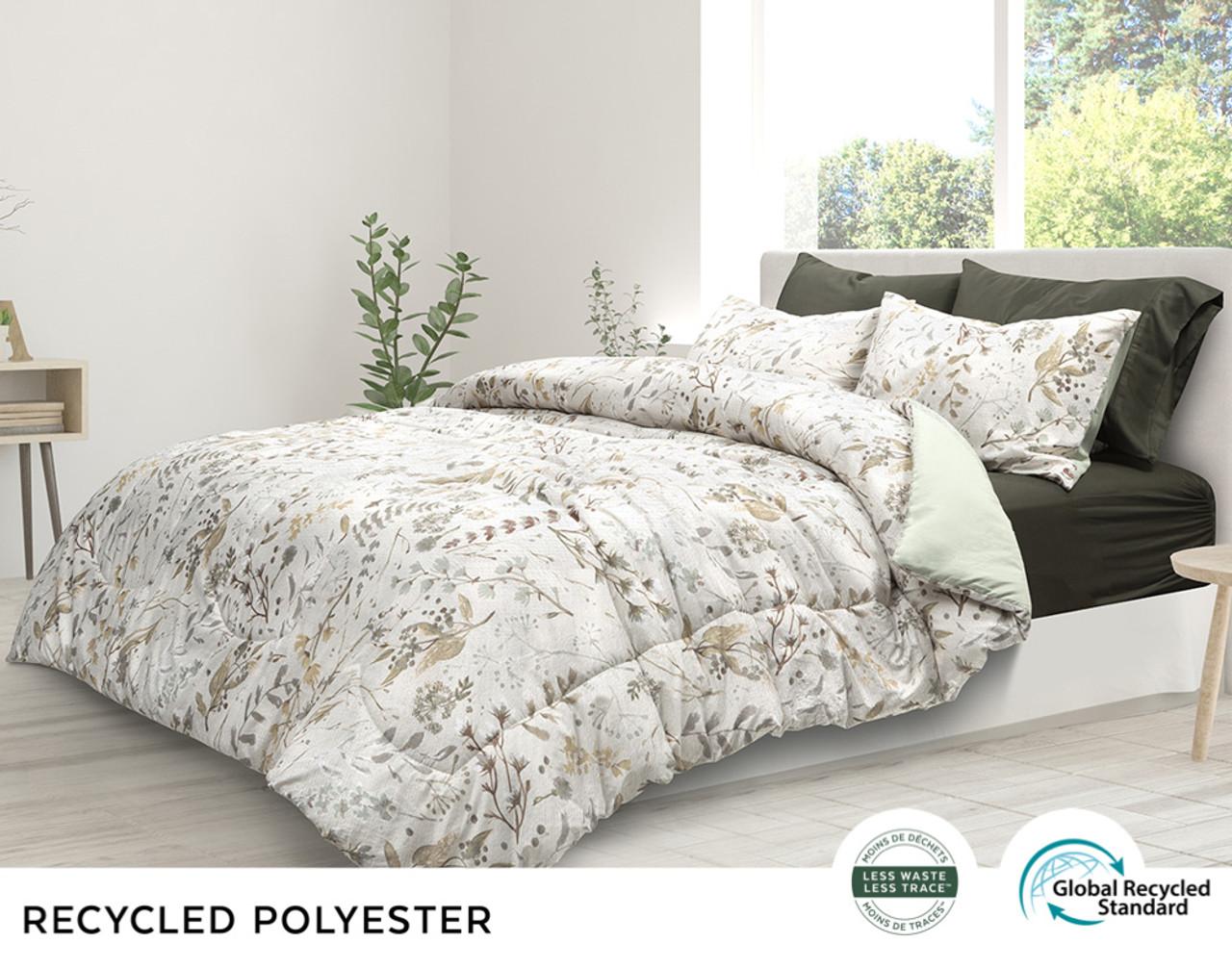 Shawnigan comforter set, side view. Shown with gentle botanicals in smooth neutrals.