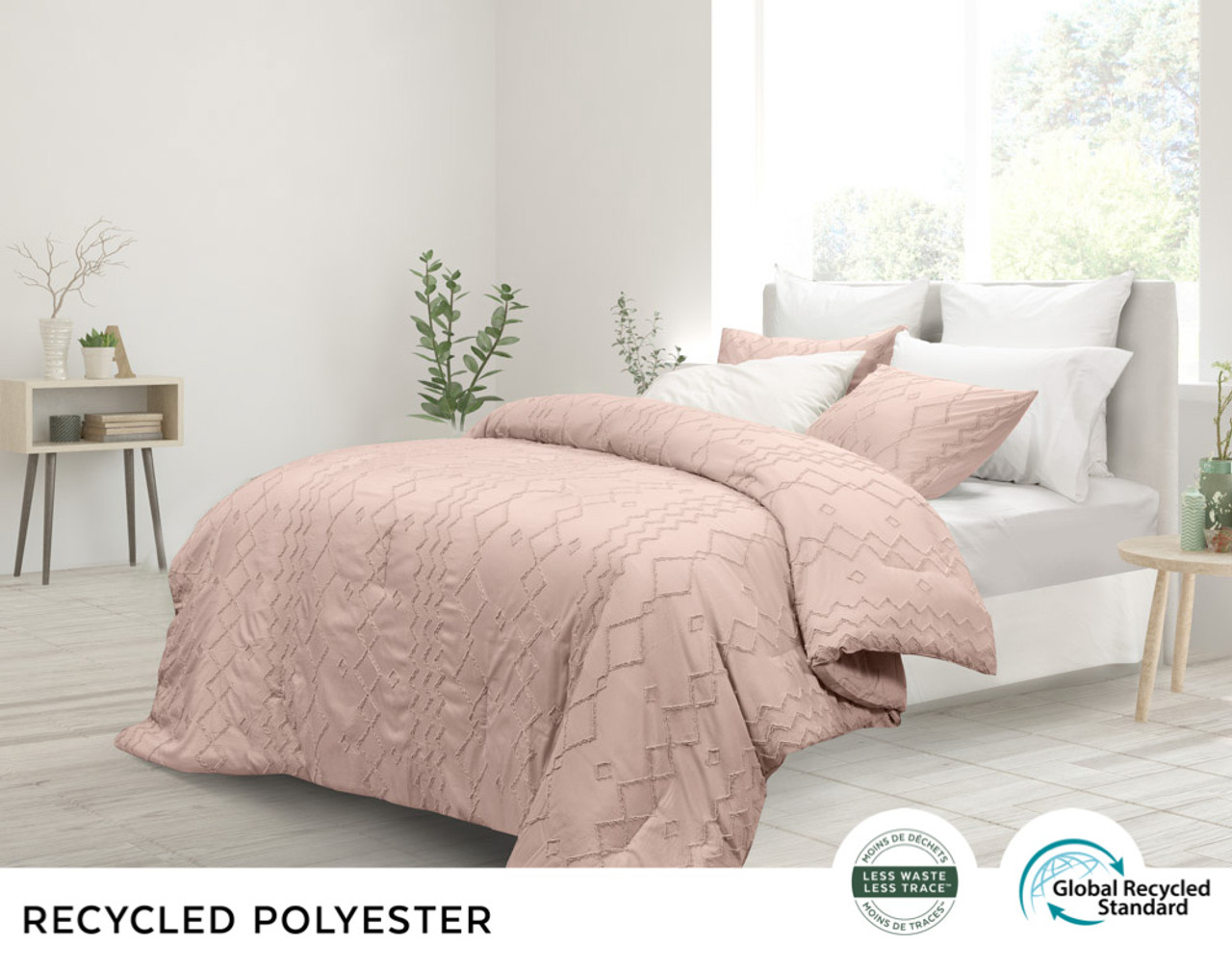 Kalista Rose Smoke comforter set, side view in a delicate rosey pink.