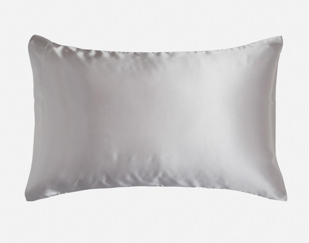 Silver Pillowcase in Queen size over a pillow