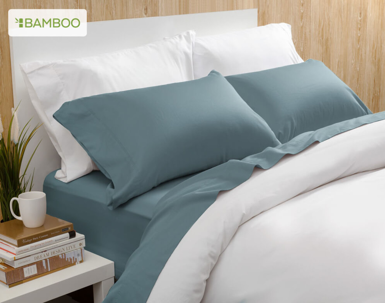Bamboo Cotton Sheeting in blue green Spruce