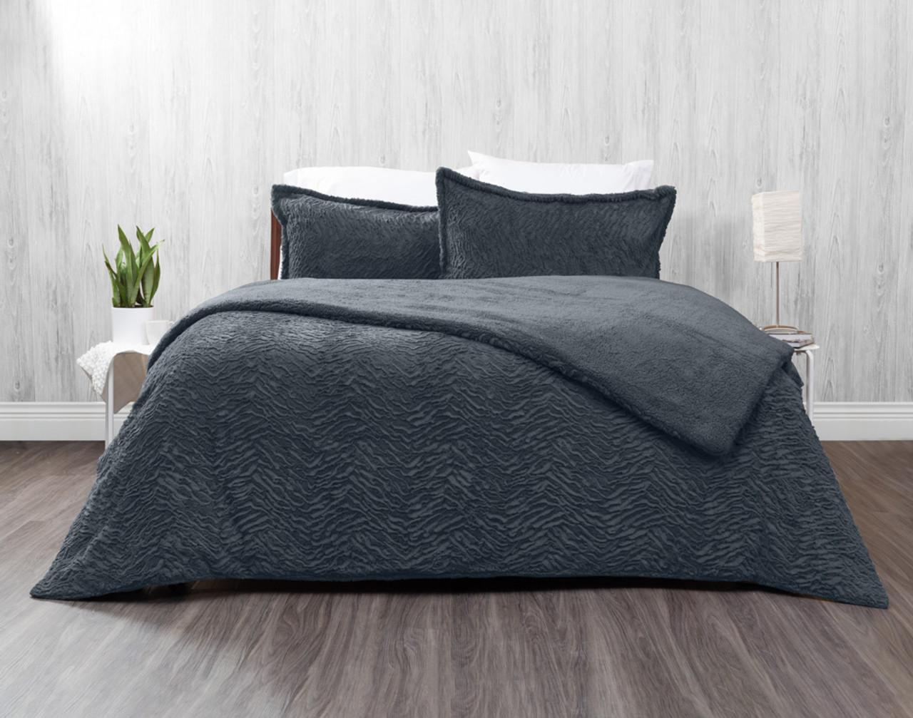 Faux Rabbit Plush Comforter Set in Thundercloud, a dark grey.