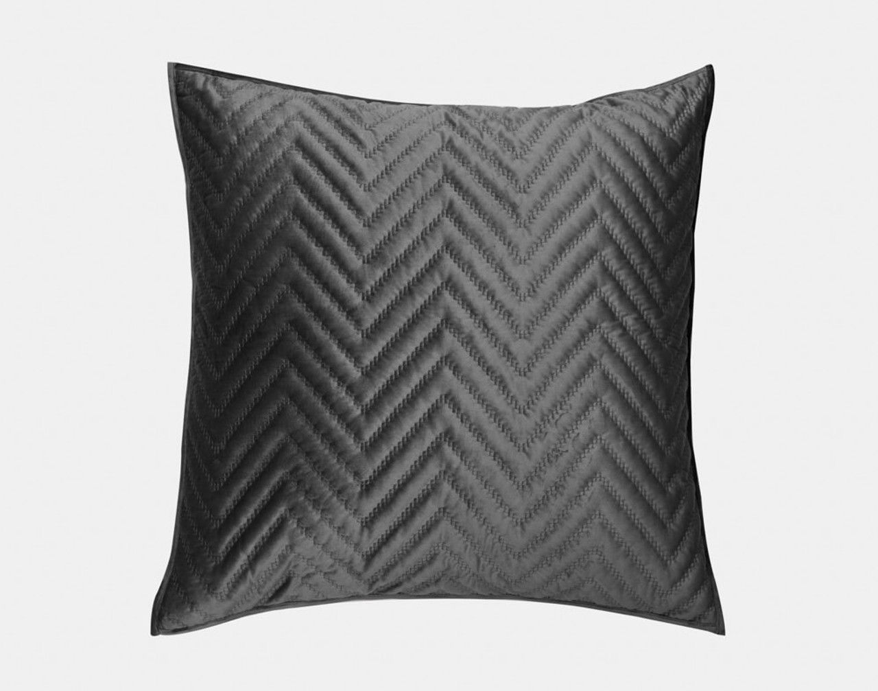 Front view of our Quilted Chevron Euro Sham in Charcoal.
