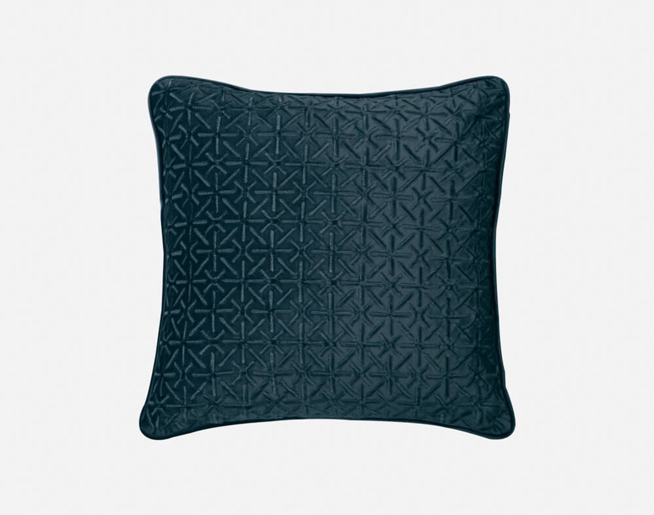Front view of our Trellis Velvet Square Cushion Cover in Teal.