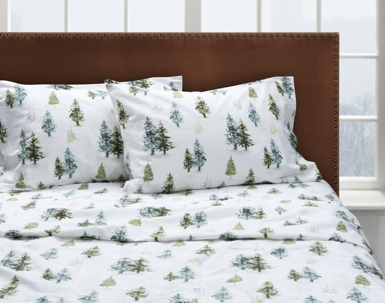 Front view of our Treeline Flannel Cotton Sheet Set dressed over a bed.