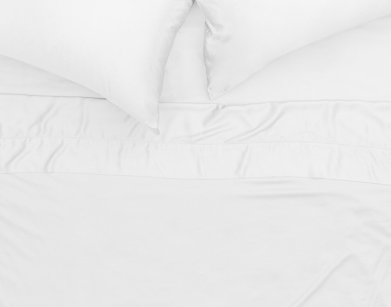 Top view of Cotton Blend Percale Flat Sheet over a bed.