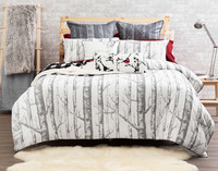 Birchgrove Duvet Cover features a stately stand of rustic birch trees in silver and grey on a white background.
