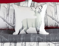 Birchgrove Square Cushion Cover features a deer silhouette on a white background.