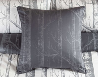 Birchgrove Euro Shams are printed in the reverse fabric, metallic silver on a dark grey background.