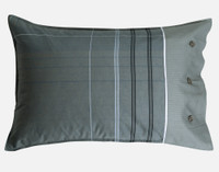 Renzo Pillow Sham features pin stripe pattern in grey with blue.