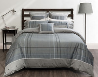 Renzo Bedding Collection features tones of grey-blues with navy and white pinstripe accents, white flange accents, and decorative button detailing.