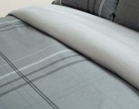 Close up of pinstripe on Renzo grey duvet cover.