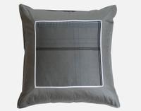 Renzo Euro Sham features a larger navy blue pinstripe on a dark grey background.
