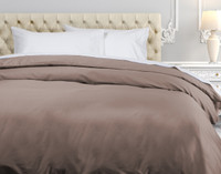 500TC Cotton Sateen Duvet Cover - Latte Brown