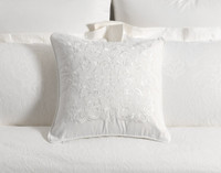 Astoria Square Cushion Cover, white cushion cover on bed