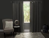 Linen Look Blackout Drapery Panel in Charcoal grey against window.