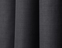 Close up of charcoal grey fabric on Linen Look Blackout Drapery Panel